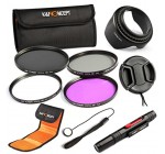 K&F Concept 55mm UV Circular Polarizing FLD ND4 Lens Accessory Filter Kit for Nikon D5300 D5200 D5100 D3300 D3200 D3100 DSLR Cameras + Cleaning Pen + Flower Petal Lens Hood + Center Pinch Lens Cap + Cap Keeper + Filter Pouch