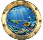 Stickersnews – Sticker hublot trompe l oeil déco Poissons tropicaux Dimensions – 20x20cm Reviews