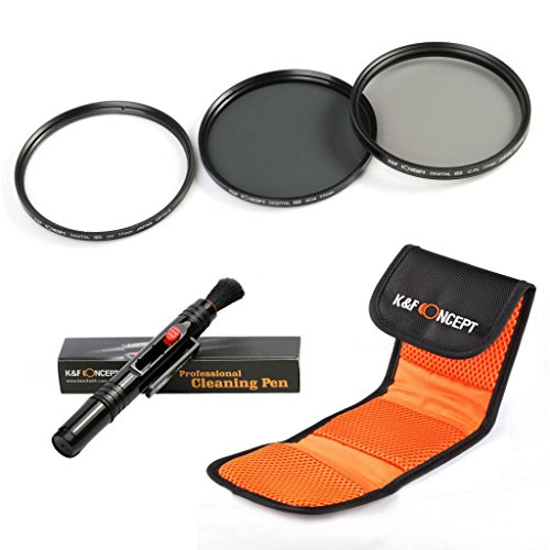 K&F Concept 58mm UV CPL ND4 Lens Accessory Filter Kit UV Protector Circular Polarizing Filter Neutral Density Filter for Canon 600D EOS M M2 700D 100D 1100D 1200D 650D DSLR Cameras + Cleaning Pen + Filter Bag Pouch