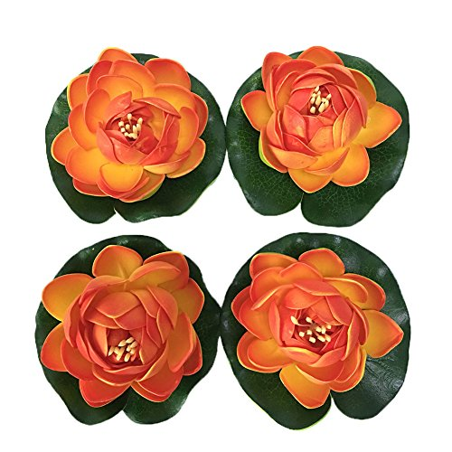 Jarown EVA de lotus artificielle Water Lily Fleur flottant pour bassin plantes Guirlande de décoration Arrangement, Lot de 4, PU, Orange, 10 cm